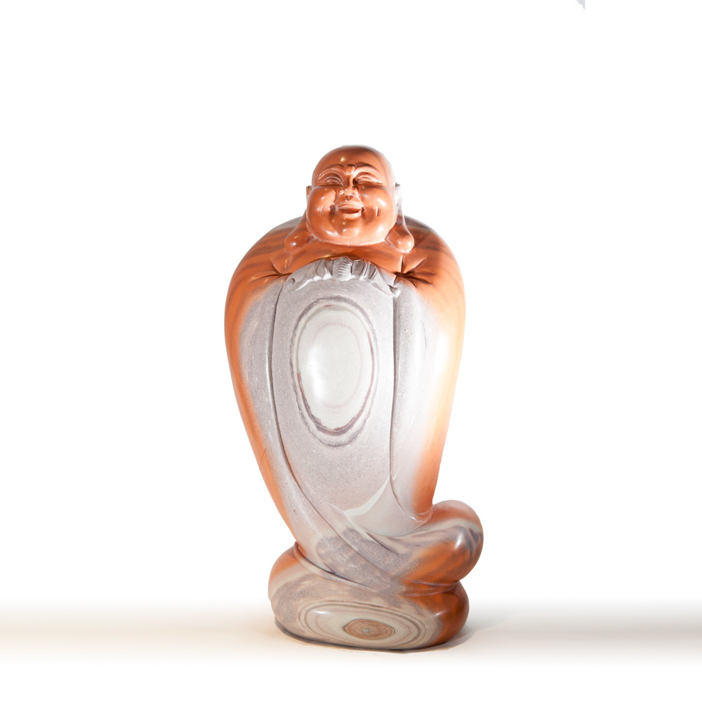 Bouddha en jaspe orange et gris